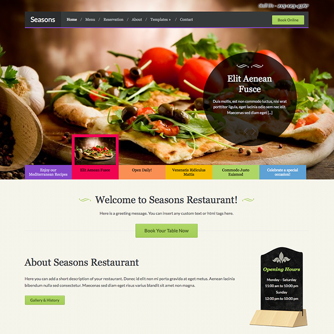 Seasons Restaurant WordPress Theme WPExplorer - Restaurant template wordpress