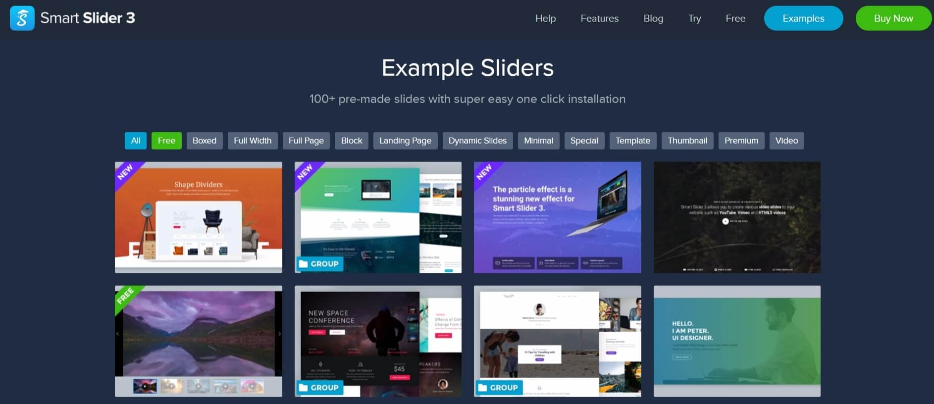 The Smart Slider 3 slider examples page