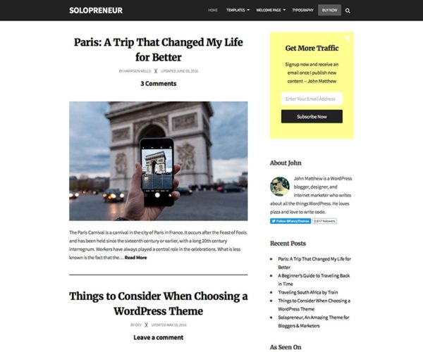 Solopreneur Responsive Blogging WordPress Theme