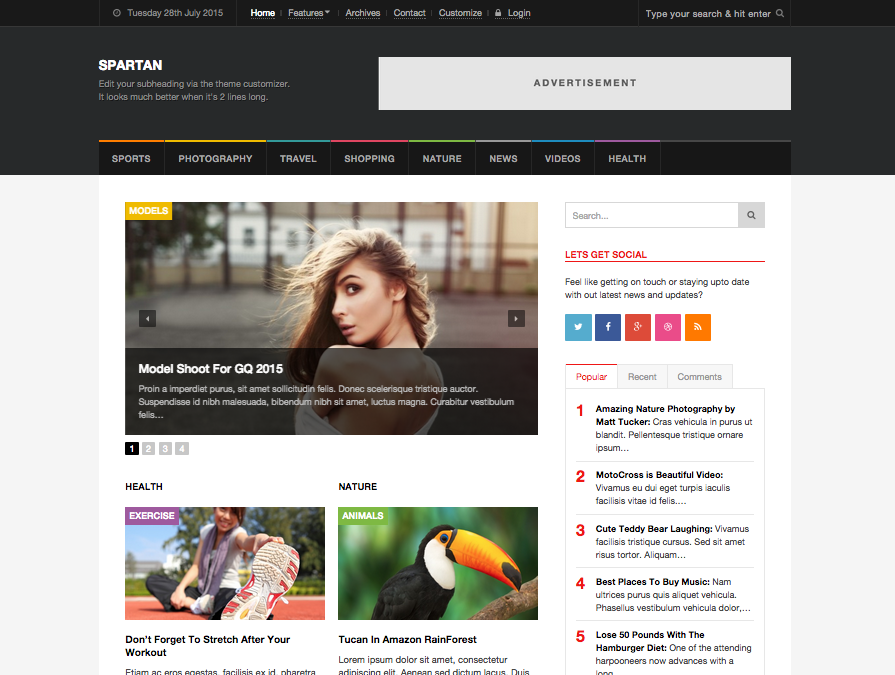 Spartan Blog, Magazine & News WordPress Theme