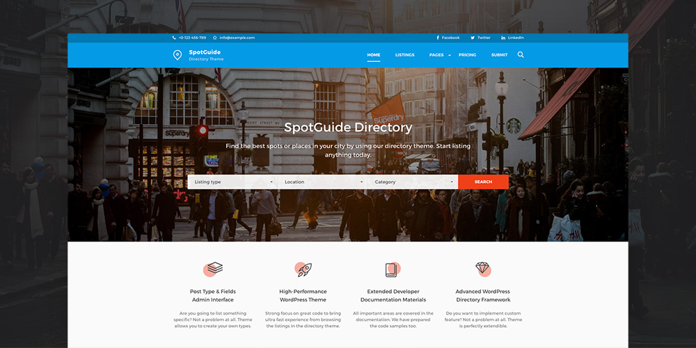 SpotGuide High Performance Directory WordPress Theme