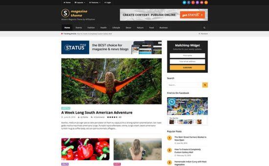 Status Responsive News & Magazine Blog WordPress Theme