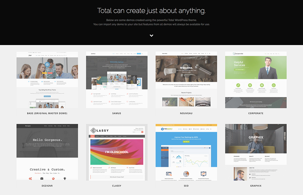 Total Drag & Drop WordPress Theme Demos