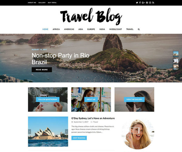 Travel Blog by Total WordPress Theme