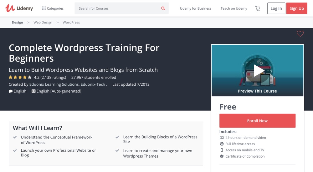 Complete WordPress Training for Beginners by Udemy