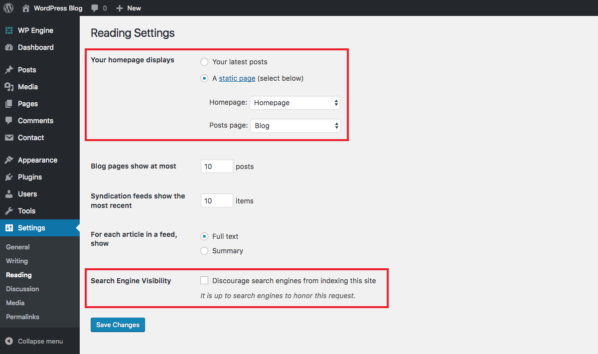 WordPress Settings: Reading