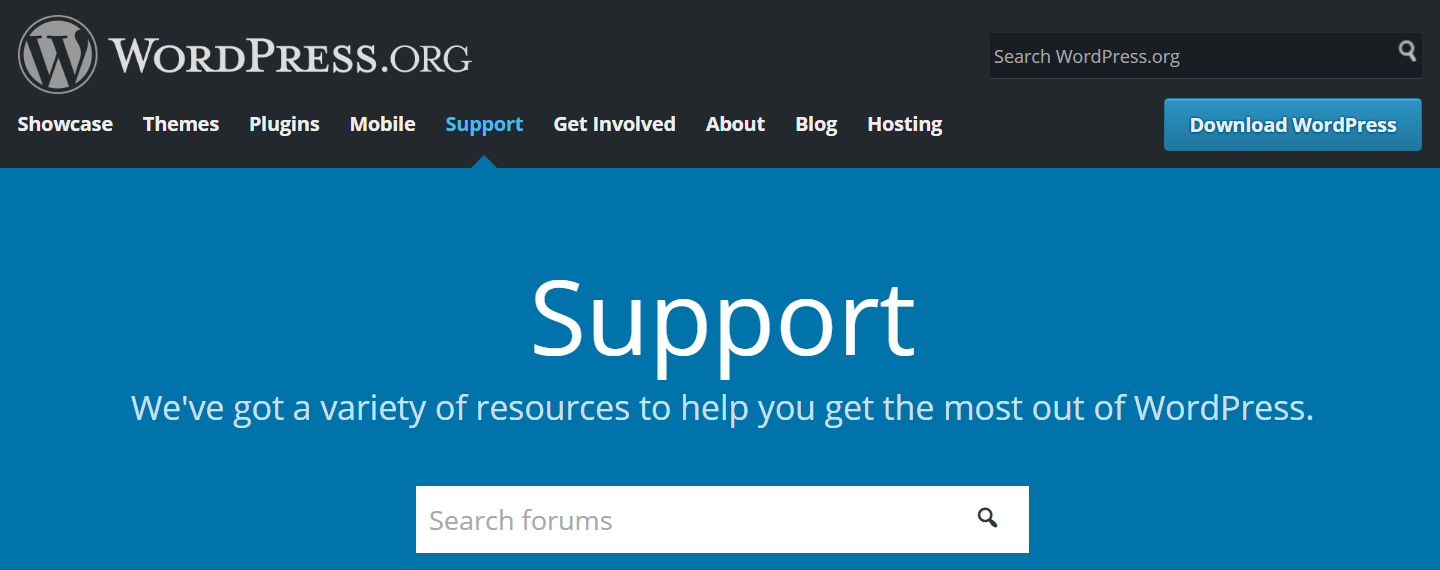The official WordPress support forums.