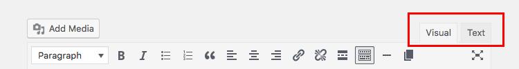 WordPress Visual and Text Editor tabs