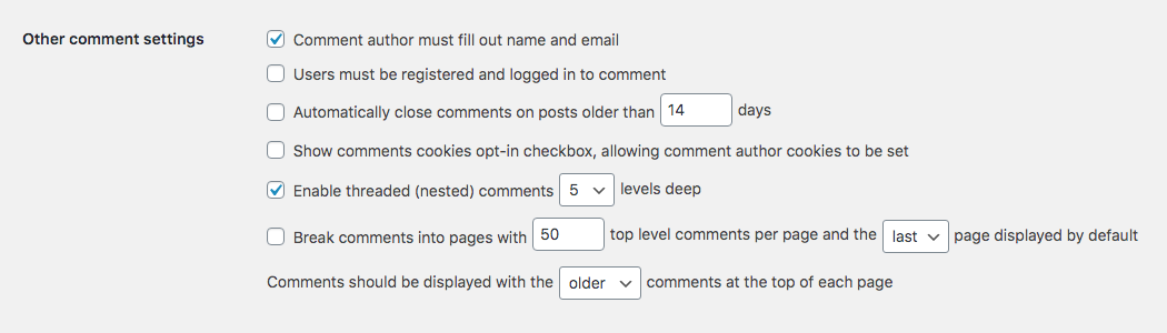 WordPress Comment Moderation: Other Comment Settings