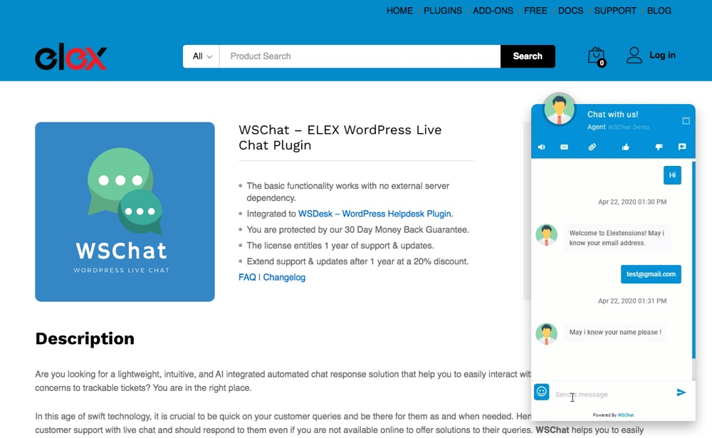 WSChat Live Chat Example