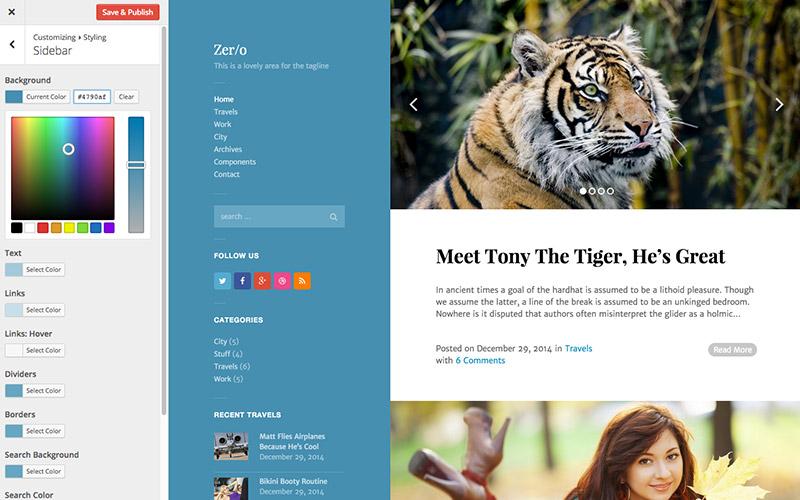Zero WordPress Theme Customizer